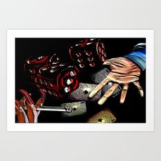 Rollin (black/red) Art Print