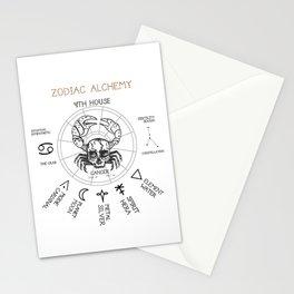 Zodiac Alchemy Cancer Chart Skull Crab Stationery Cards