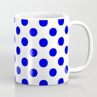 polka Mugs featuring Polka Dots (Blue/White) by 10813 Apparel
