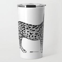 Wild Spotted Cat Sketch Illustration Travel Mug
