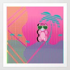 80's Beach Gummy Bear Art Print
