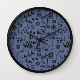 Peoples Story - Black on Blue Wall Clock