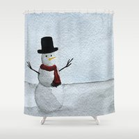 snowman Shower Curtains featuring Snowman by Nicole Scragg