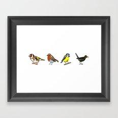British Birds - Lino Print Illustrations Framed Art Print
