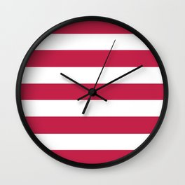 Bright maroon - solid color - white stripes pattern Wall Clock