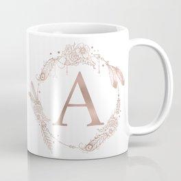 Letter A Rose Gold Pink Initial Monogram Coffee Mug