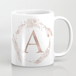 Letter A Rose Gold Pink Initial Monogram Coffee Mug
