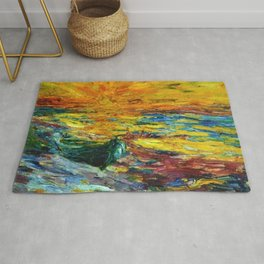 Late Summer Beach Sunset with waves and boat landscape painting by Emil Nolde Rug