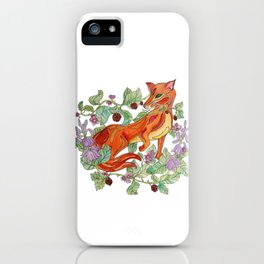 Fox in the flowers iPhone Case