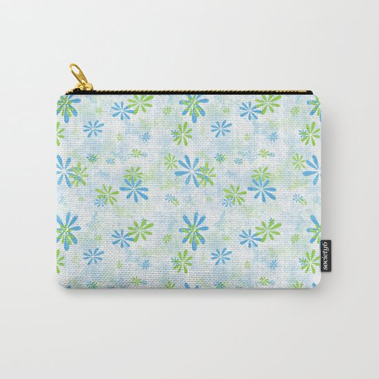 Blue and Green Floral Pattern Carry-All Pouch