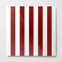 Maroon (HTML/CSS) red - solid color - white vertical lines pattern Metal Print