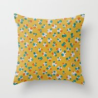 yellow pattern Throw Pillows featuring Yellow by Alisa Galitsyna