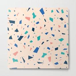 Pastel Terrazzo - Peach Granite Marble Speckle Pattern Metal Print