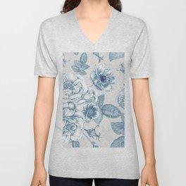 Blue Flower Anely Unisex V-Neck