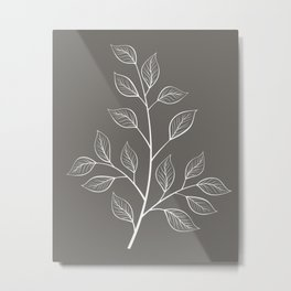 White and Gray Branch and Leaves Metal Print