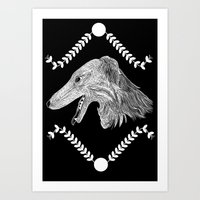 Borzoi head Black and White Art Print