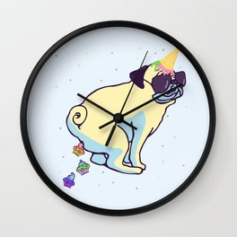 my pug is a unicorn and poops cupcakes Wall Clock