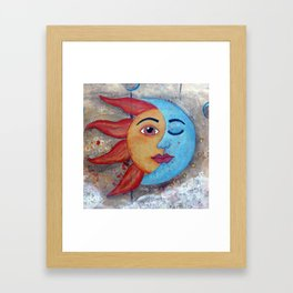 SOLUNA - Sun and Moon, mixed media art painting Framed Art Print