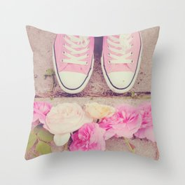 English Roses And Pink Chucks Throw Pillow