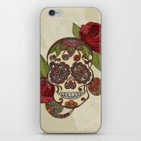 sugar skull iPhone & iPod Skins featuring Sugar Skull by Valentina Harper