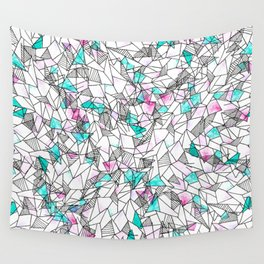 Pink and Teal Abstract Watercolor and Geometric Wall Tapestry