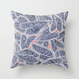 Tropical Caladium Leaves Pattern - Purple Gray Coral Throw Pillow