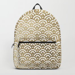 Elegant chic faux gold white japanese wave scallop pattern Backpack