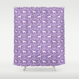 Irish Setter floral dog breed silhouette minimal pattern purple and white dogs silhouettes Shower Curtain