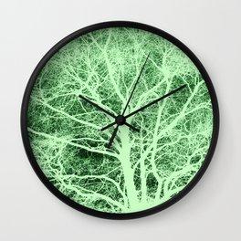 Green tree silhouette Wall Clock