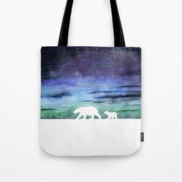 Aurora borealis and polar bears (white version) Tote Bag