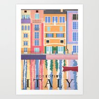 travel poster Art Prints featuring Travel Poster: Italy by Carly Watts