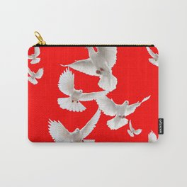 FLOCK OF WHITE PEACE DOVES ON RED COLOR Carry-All Pouch