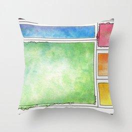 Rainbow Mondrian Throw Pillow