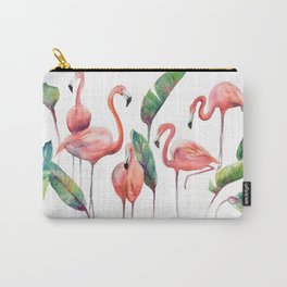 Pink Flamingos with some Strelizia Foliage Carry-All Pouch