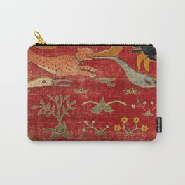 Animal Grotesques Mughal Carpet Fragment Digital Painting Carry-All Pouch