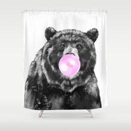 Bubble Gum Big Bear Black and White Shower Curtain