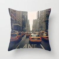 fifth element Throw Pillows featuring Fifth Avenue  by Laura Ruth
