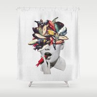eugenia loli Shower Curtains featuring Ωmega-3 by Eugenia Loli