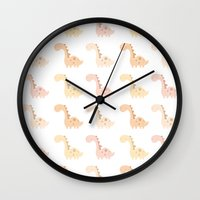 dinosaurs Wall Clocks featuring Dinosaurs! by Juice for Breakfast