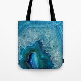 Teal Blue Agate slice Tote Bag