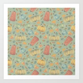 scattered autumn pumpkins on sprout green Art Print
