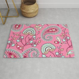 Paisley Pattern (pink and blue) Rug