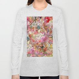 Summer Flowers | Colorful Watercolor Floral Pattern Abstract Sketch Long Sleeve T-shirt