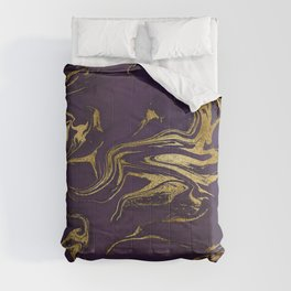 Dark Purple Gold Marble Comforters