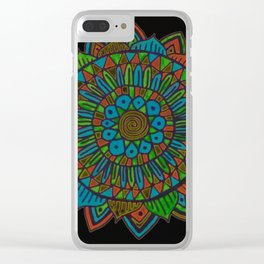 Glow Doodle Mandala Clear iPhone Case