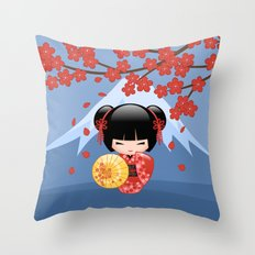 Japanese Red Sakura Kokeshi Doll on Blue Throw Pillow
