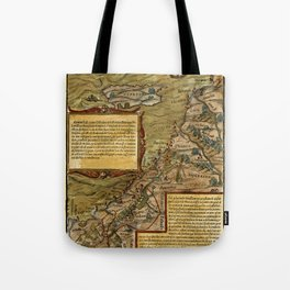Map Of The Holy Land 1544 Tote Bag
