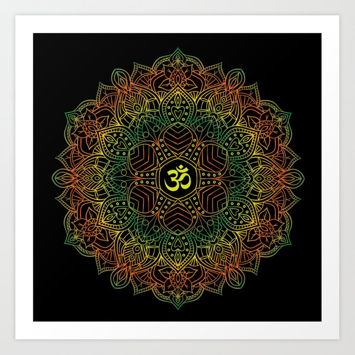 Mandala Ohm Yay Green Art Print