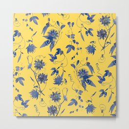 Elegant Blue Passion Flower on Mustard Yellow Metal Print