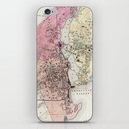 Vintage Map of Bridgeport CT (1867) iPhone Skin